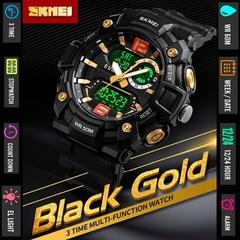 SKMEI Men Quartz Digital Sport Watches Luminous Back Light Chronograph Waterproof Male Wristwatch Gold one size