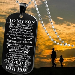 Military Necklace Son Daughter Give My Son Daughter Fashion Necklace from Mom Dad Mom-son Silver