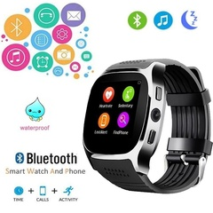 Bluetooth T8 Smartwatch Sleep Track Support SIM TF Card with Camera Sync Call Message for Android Black one size