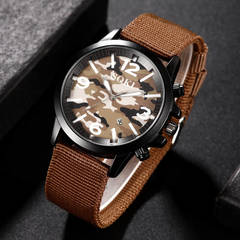 SOKI Nylon Woven Camouflage Watch Calendar Men's Watch Quartz Outdoor Sports Military Watch Brown one size