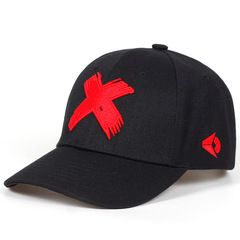 Men Women Snapback Cap X Embroidery Flat Brim Baseball Cap Youth Hip Hop Cap Hats Red Adjustable(54-62cm)