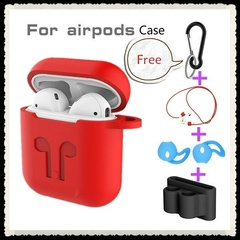 5pcs Airpods Accessories 5in1 Airpods Case+Eartips Earphones+Anti-lost Wire+Carabiner+Storage Box Red 5pcs