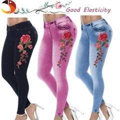 Women's Sexy Floral Print Skinny Jeans Casual Elastic Denim Long Pants Trousers Bottoms Dress Pants Light blue s