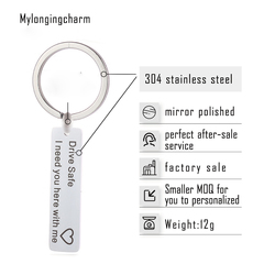 Keychain with Letter Gift for Family Member Friend Husband Dad Gift Valentines Day Stocking Stuffer Silver 10*40mm