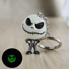 Halloween Luminous Devil Skull Pumpkin Keychain Keyring Christmas Cartoon Key Ring Accessories Gifts White 2.8cm*4cm