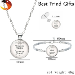 '' Always My Sister Forever My Friend '' Sisters Friendship Keychain Car Key Holder Silver Necklace