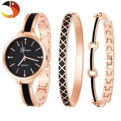 GINAVE High Quality Women's Quartz Watch Diamond Watches Bracelet Women's Fashion Accessories Set Rose gold&Black one size