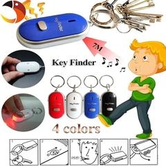 2pcs 4 Color LED Key Finder Locator Keychain Find Lost Keys Keyrings Whistle Sound Control White 2pcs