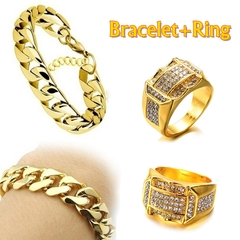 18K Gold Hip hop 6mm Men's NK Links Figaro Gold Chain Classic Figaro Bracelet+Ring Set Bracelet+Ring 7