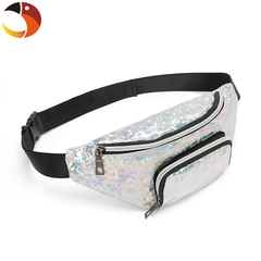 Glass Double Pocket Waist Packs Women Waist Bag Belt Bag Female Pouch PU Casual Fanny Pack Bag Silver one size
