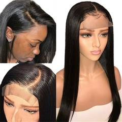 4*4 Straight Lace Closure Wig Lace Front Human Hair Pre-Plucked with Baby Hair Non Remy Lace Wig Black Adjustable