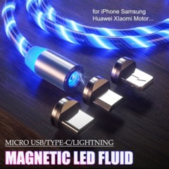 Rainbow Fluid Led Magnetic Charger Flowing 2.4A Fast Charging Micro Type C For iPhone Samsung Huawei Blue iphone