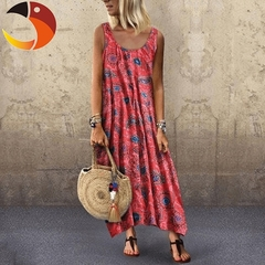Phoenix Women Summer Off Sholuder Round Neck Printed Big Swing Loose Casual Holiday Beach Long Dress m Red