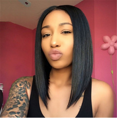 Female Short Straight Black Hair Synthetic Wig Distribution Type Personality Face Repair Wave Head Black Adjustable