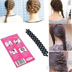 2pcs Women Female Girls Magic Hair French Braid Twist Styling Tool for Fashion Wedding Parties Black 2pcs
