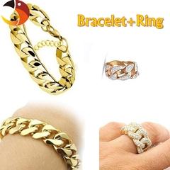 18K Gold Hip hop Cross-border  Men's NK Links Figaro Gold Chain Classic Figaro Bracelet+Ring Set Bracelet+ring 7