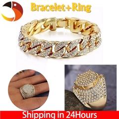 Hip Hop Men luxury Bracelet+Ring Jewelry Classice Christian Jesus Cross Rings Fashion Accessories Bracelet+ring 7