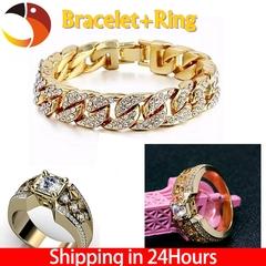 Men's Fashion Classic Synthetic Diamond Bracelet+Ring Jewelry Classice Jesus Cross Rings Accessories Bracelet+ring 7