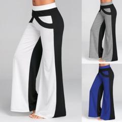 Women Sexy Fashion Casual High Waist Flare Wide Leg Long Pants Palazzo Trousers Blue S