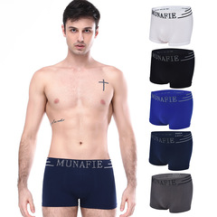 4 Pcs/Set Men's Hot Sale Cotton Boxer Briefs Colors Breathable Wear Modal Underwear Black&White&Navy blue&Grey One size