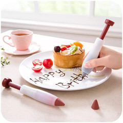 1pc Professional Silicone Food Writing Pen Cake Chocolate Sugar Pastry Cookie Baking Decorating Tool As picture shows 13.5*2.7CM