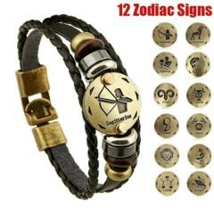 Aquarius/Scorpio/Libra/Capricorn 12 Constellation Bracelet Men Women Braided Leather Bracelets Aquarius one size