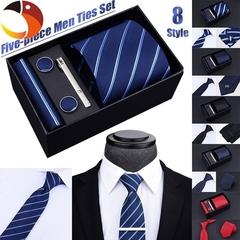 5Pcs/Set 8 Styles Vogue Men Tie Set Suit Decoration Necktie Cufflinks Tie Clip With Gift Box B 5pcs/set