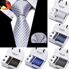 3pcs/set Wedding Men Tie Set Red Black Blue Plaid Men Fashion Designer Ties For Men Business 1 3pcs/set