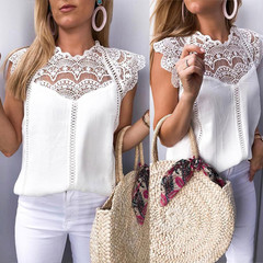 Women Tops Lace Sleeve Hollow Collar Shirts Sleeveless Blouse Tank Tops T-Shirt Slim Fit Shirts White S