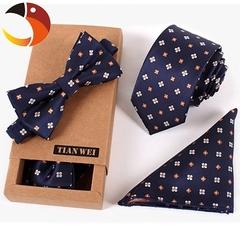 3 PCS Slim Tie Set Men Bowtie Necktie Cravate Homme Noeud Papillon Man Corbatas Hombre Pajarita 1 3pcs/set