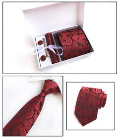 6PCS Silk Mens Tie Set Cufflinks Handkerchief Set with Gift Box Tie for Men Necktie Wedding Dress 1 6pcs/set