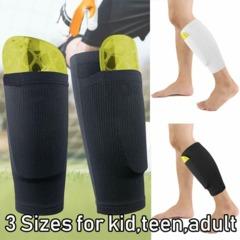 1Pair Shin Pads Holder Socks Foot Guard Shin Guards Sleeves Lock Sleeve for Leg Guard Board Soccer Black M(Kids) Elastic