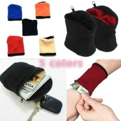 5 Colors Good Wrist Wallet Pouch Band Fleece Zipper Running Travel Gym Cycling Safe Sport Red one size