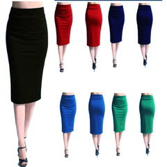 Summer Women Office Elastic Pencil High Waist Hip Package Skirt Bodycon OL Long Skirts s Red