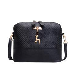Elegant Women Handbags Cute Bowknot Bags Leather Shoulder Sling Deer Bag Ladies Crossbody  Bags Black one size