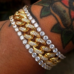 Men's Fashion Fully Iced Out 14k Gold Diamond Miami Cuban Bracelet Clear Hip Hop Jewelry Gold One size