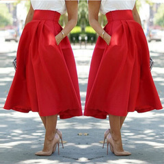 Phoenix Women Fashion Long A Line Pleated Midi Skirts Ball Party Club Sexy Dress s Red