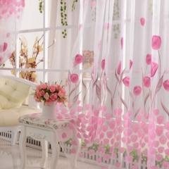 Hot Sale Tulip Flower Scarf Sheer Voile Door Window Curtain Drape Panel Valances Pink 100*200cm