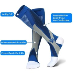 Compression Socks for Men Women Running Socks for Running Nurses Shin Splints Flight Travel Blue S/M Elastic