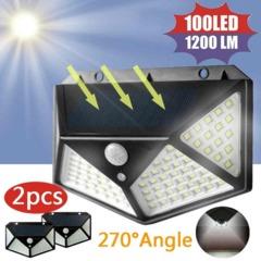 100 LED Solar Power PIR Motion Sensor Wall Light Outdoor Garden Lamp Waterproof Wall Lamp 100LED 1pack 7W