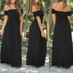 New Womens Off Shoulder Summer Beach Holiday Evening Party Long Maxi Pleated Dress Hot s Black