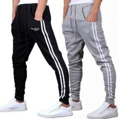 Striped Mid Waist Cotton Loose Mens Pants Sport pants mens Trousers pants Caual men pants Grey m