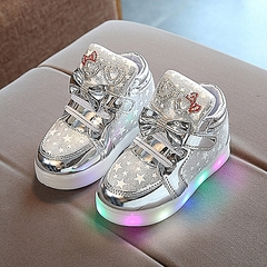 Fashion Children's Stars Leather Kid's LED Light Shoes Magic Buckle  Star Luminous Toddler Sneakers Grey 21