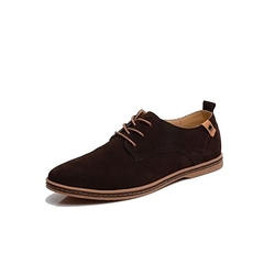Fashion Plus Size38-48 Business New Spring Men Flats Lace Up Male Suede Oxfords Men Leather Shoes Black 39
