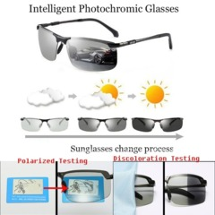 Men Driving Photochromic Sunglasses Polarized Chameleon Discoloration for Intelligent  Metal Outdoor As picture shows one size