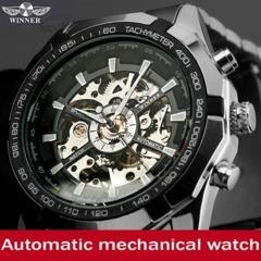 Mens Skeleton Mechanical Watch Automatic Casual Dress Wristwatch Reloj Montre Uhr Black one size