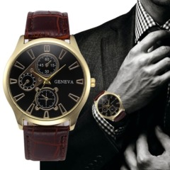 Mens Womens Unisex Casual Geneva Checkers Faux Leather Quartz Wrist Watch Verified Product Gold&Coffee one size