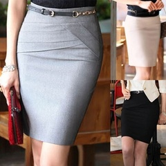 Spring 4 Color Sheath Above Knee Casual Cotton Blends High Waist Career Short Skirts s Black
