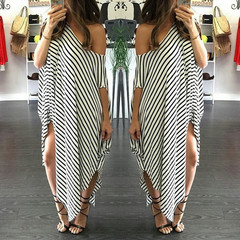 Phoenix Sexy Women Short Sleeve Party Evening Cocktail Casual Striped Dress Long Dress s White