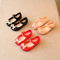 Kids Shoes For Girls Strap Baby Rubber Mini Melissa Cute Bow Sandals Children Bowtie Summer Red 24